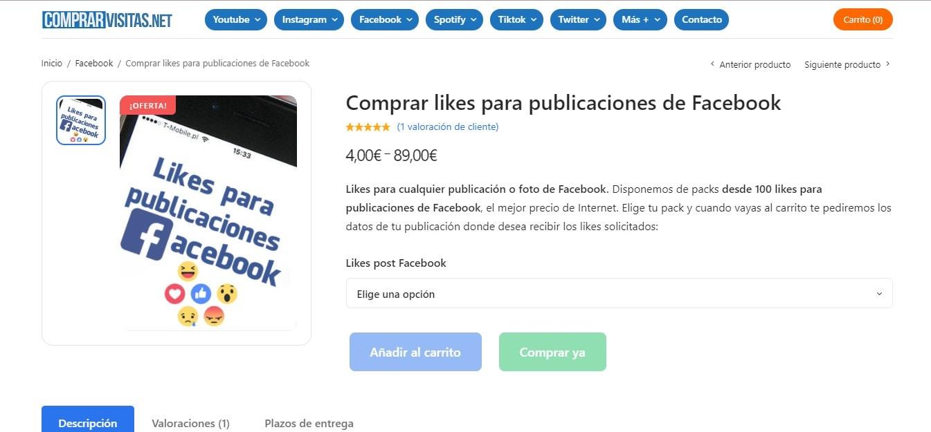 Comprar likes para tus fotos y publicaciones de Facebook