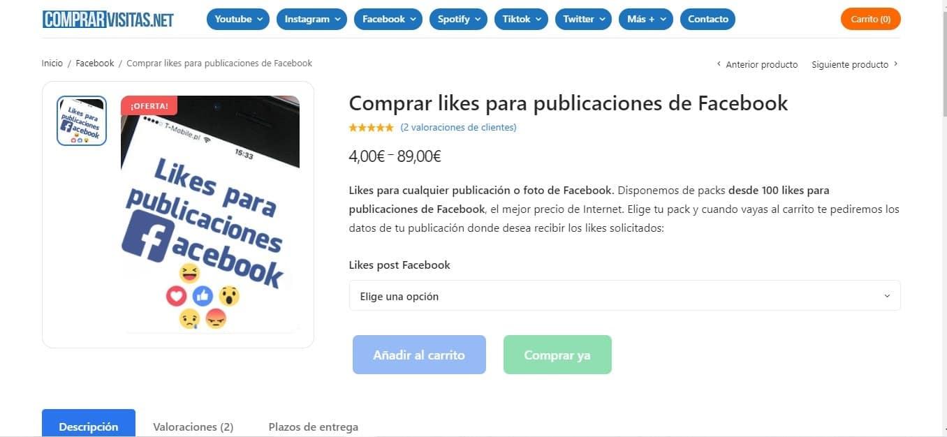 Comprar likes o me gusta para Facebook